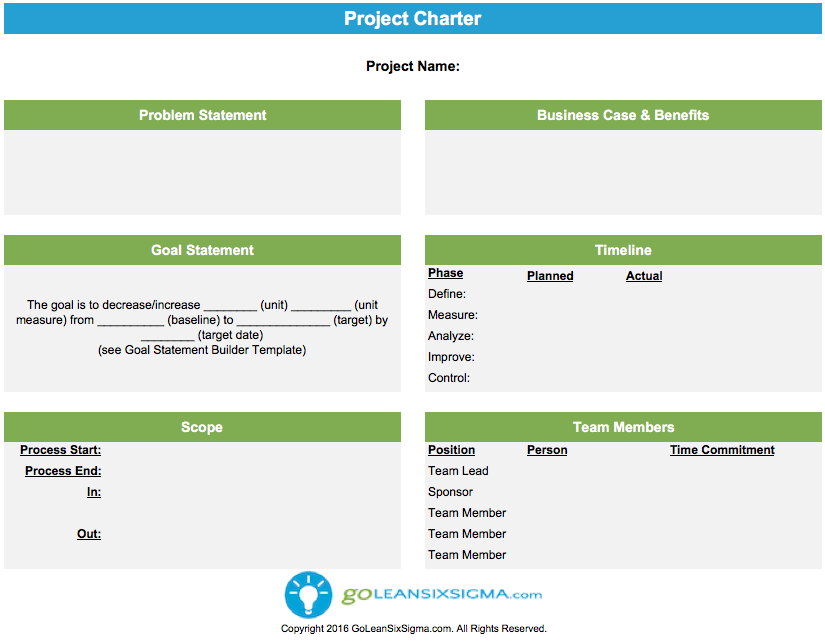 Project charter template example for Non profit charter template