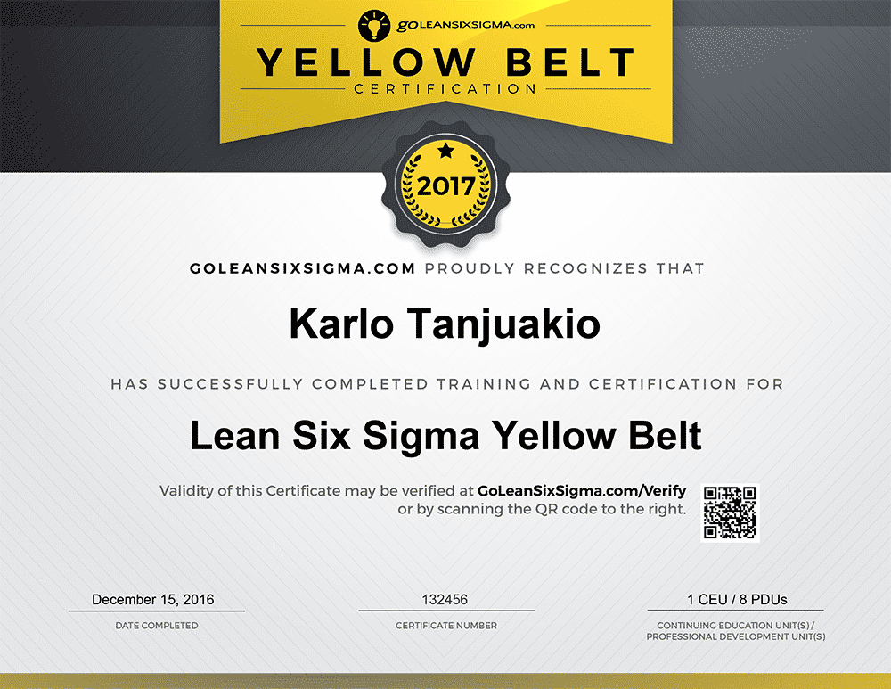 Yellow Belt Certificate Example 2017 - GoLeanSixSigma.com