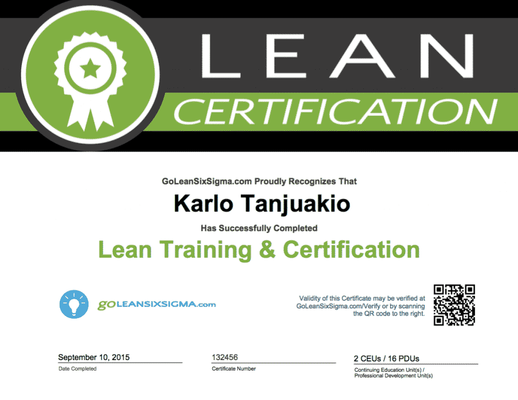 GoLeanSixSigma.com Lean Certificate Example