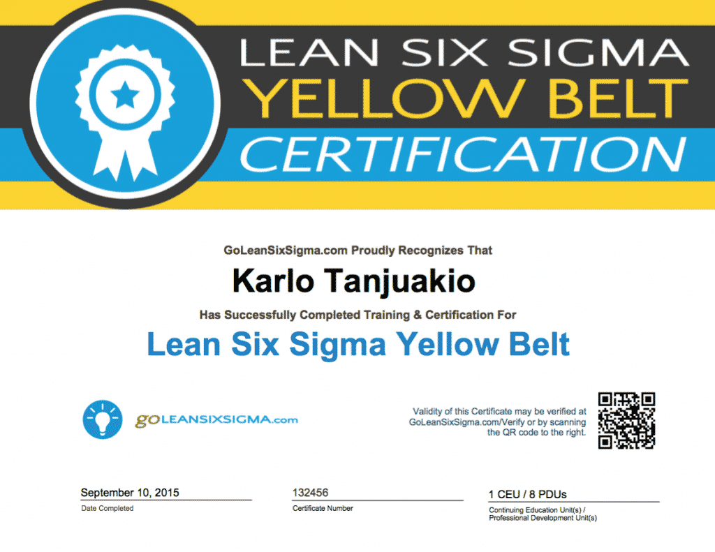 GoLeanSixSigma.com Yellow Belt Certificate Example
