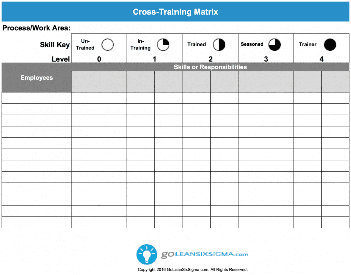 Cross training matrix template example for Employee cross training template