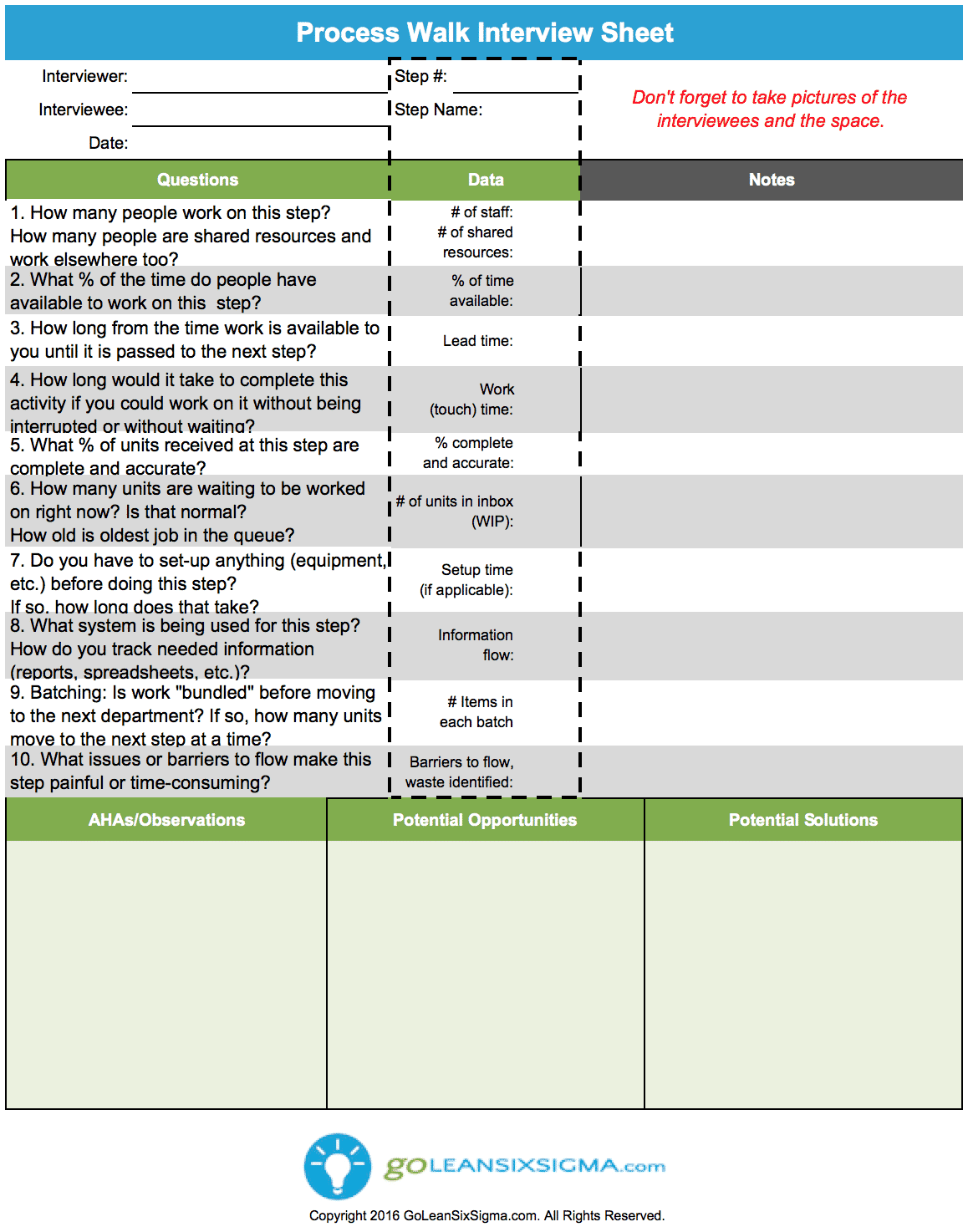 Process Walk Interview Sheet V3.0 GoLeanSixSigma.com