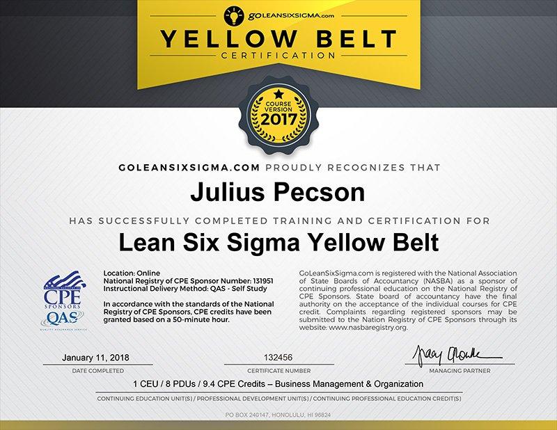 CPE Lean Six Sigma Yellow Belt Certificate - GoLeanSixSigma.com