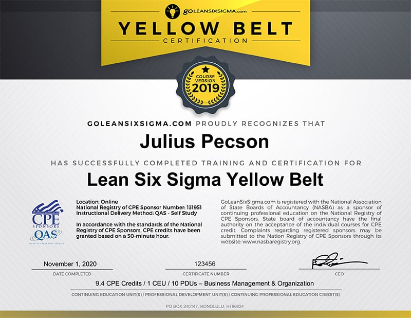 Lean Six Sigma CPE Yellow Belt Certification - GoLeanSixSigma.com