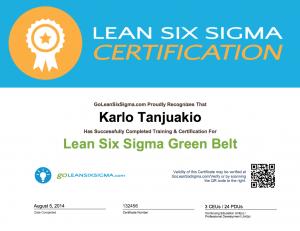 GoLeanSixSigma.com Green Belt Certificate Example