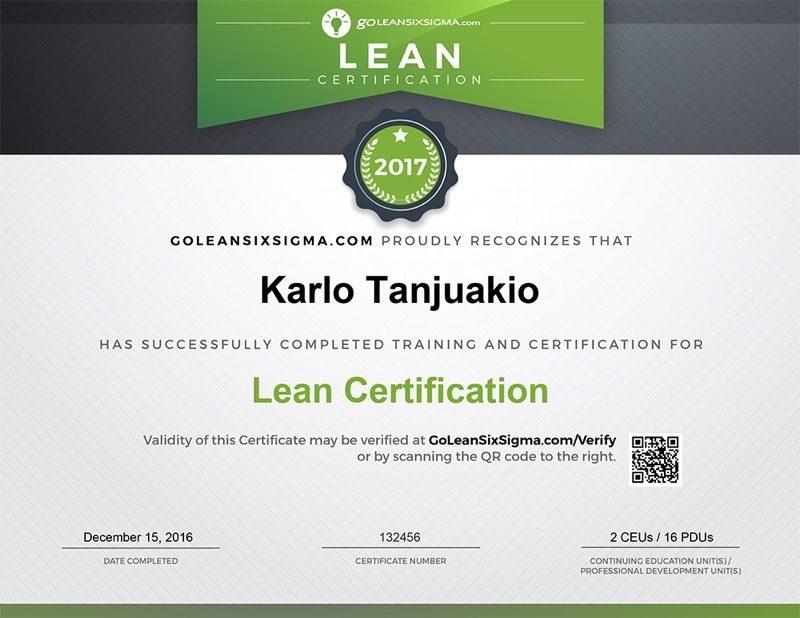 Lean Certificate - GoLeanSixSigma.com