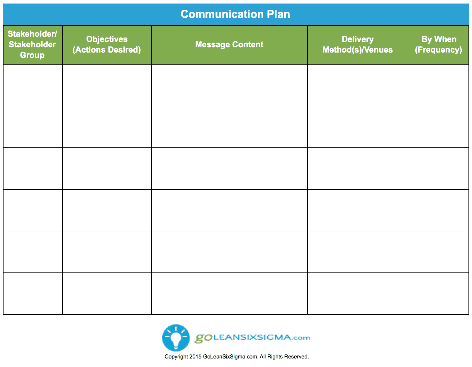 Communication Plan – GoLeanSixSigma.com