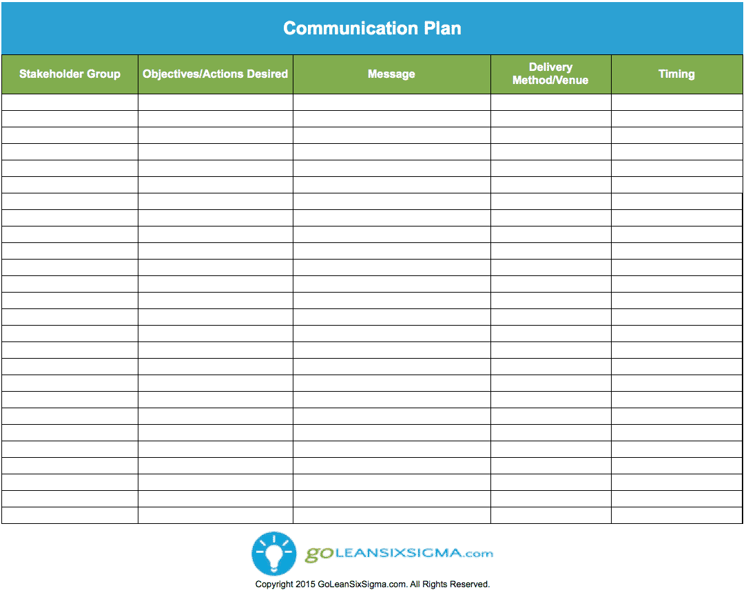 Communication Plan Template   GoLeanSixSigmacom hKh1zkO2