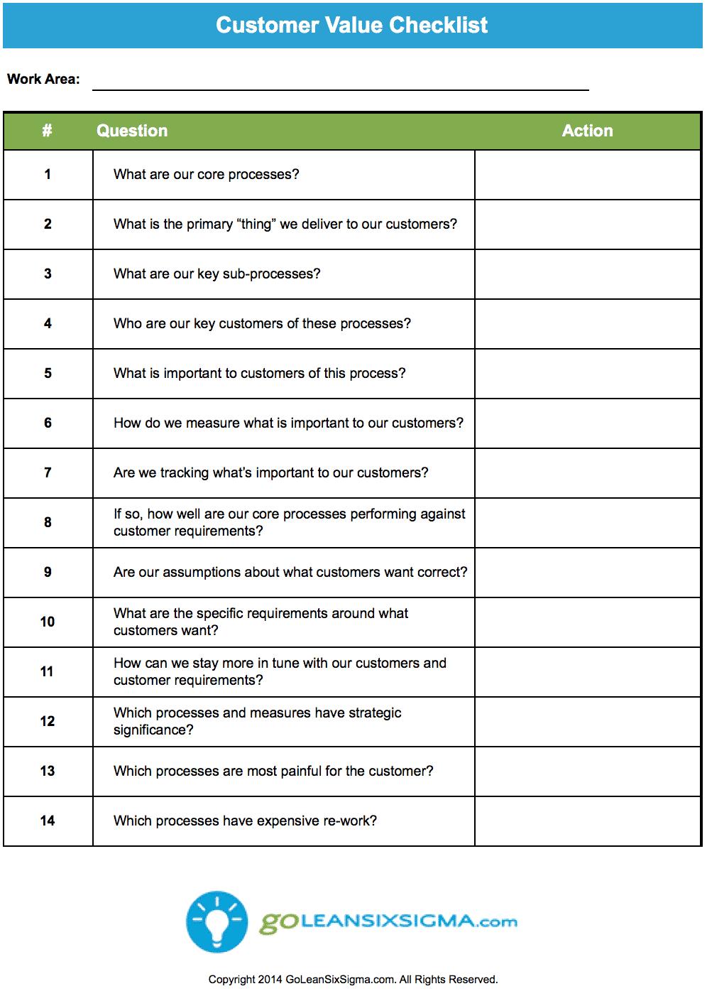 customer value checklist