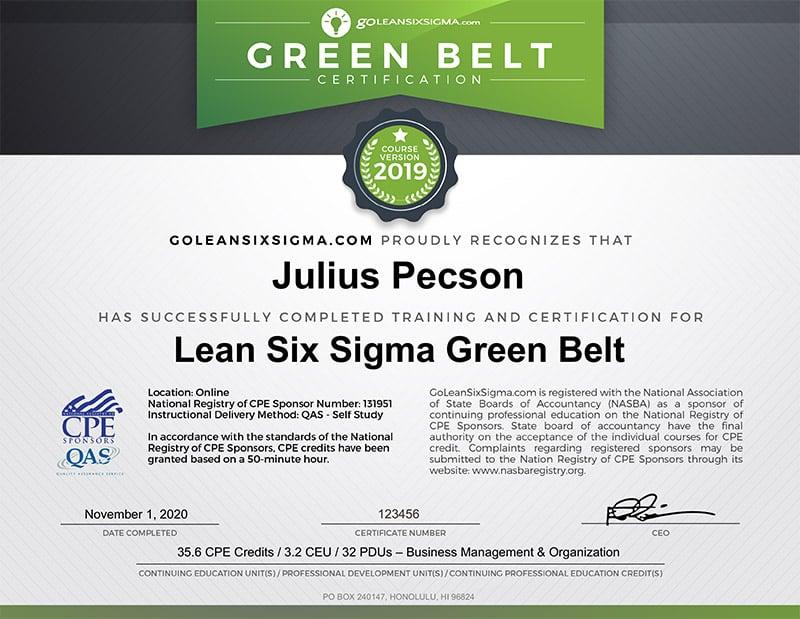 Lean Six Sigma CPE Green Belt Certification - GoLeanSixSigma.com