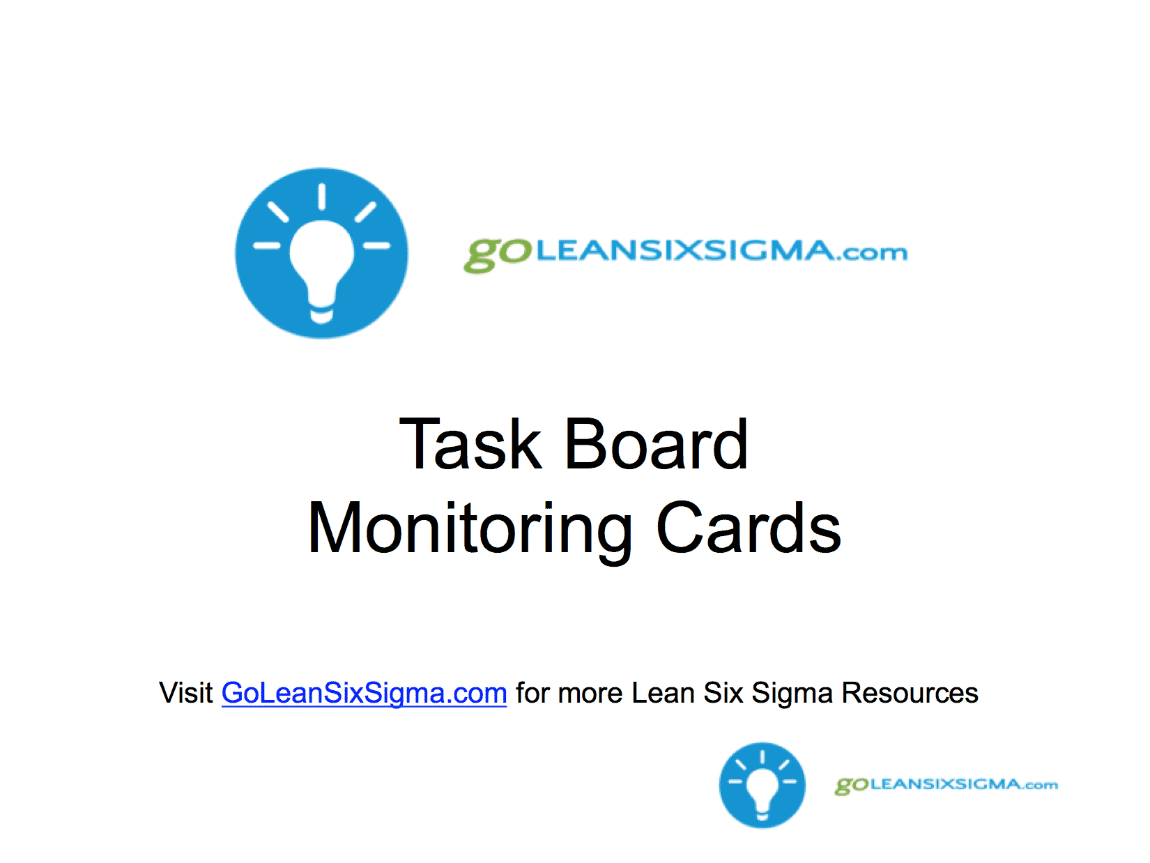 LSW Task Board Monitoring Cards – GoLeanSixSigma.com