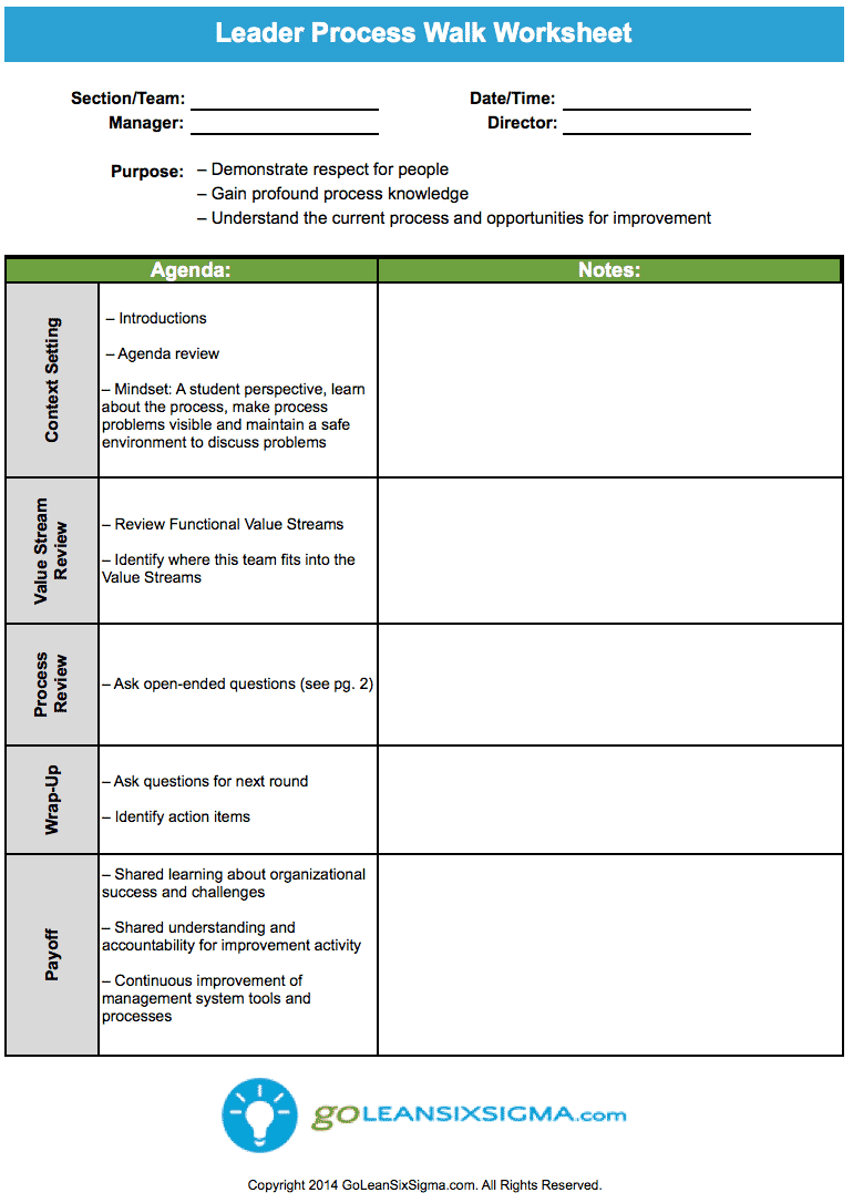 Leader Process Walk Worksheet GoLeanSixSigma – Leadership Worksheets
