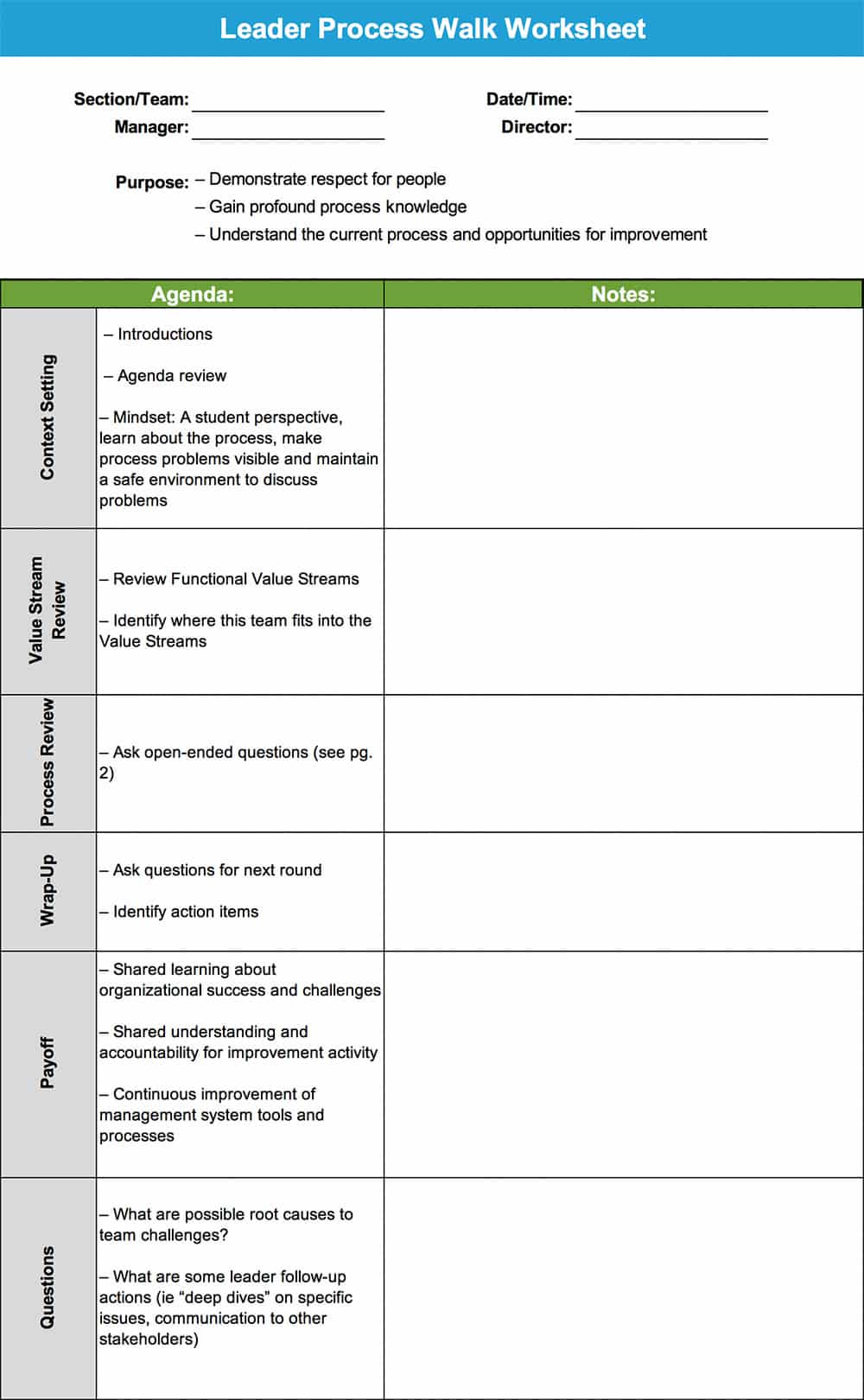 Leader Process Walk Worksheet - GoLeanSixSigma.com