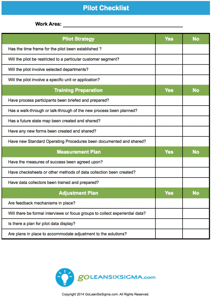 Pilot checklist for Pilot project plan template
