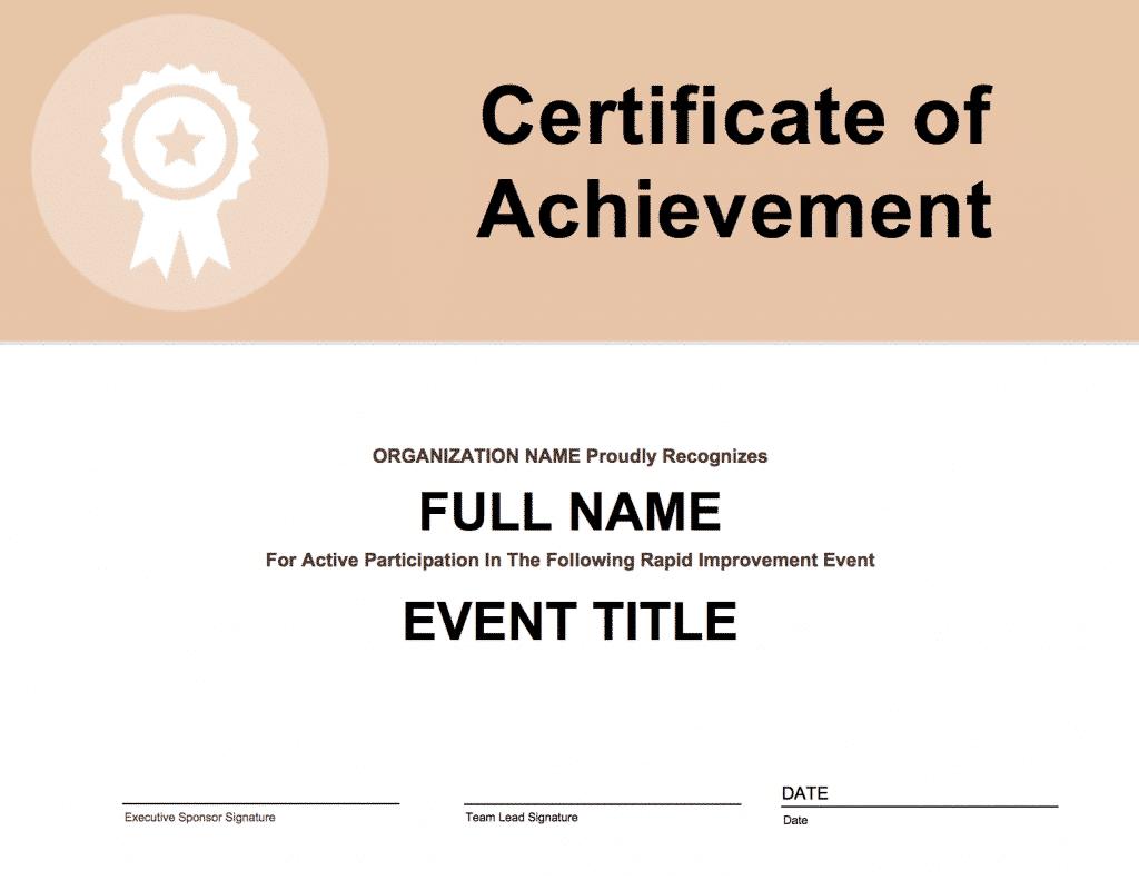 certificate participation event improvement rapid goleansixsigma