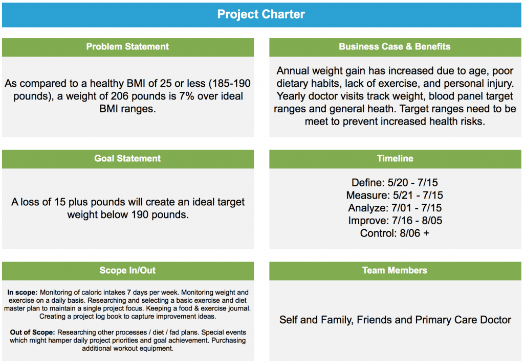 Project storyboard how to lose weight using lean six for Non profit charter template