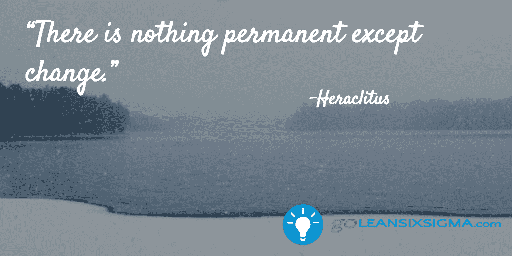 There is nothing permanent except change. - GoLeanSixSigma.com