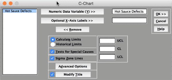C-Chart-SigmaXL-Settings