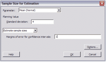SampleSizeCalculationContinuous-Minitab-Estimation