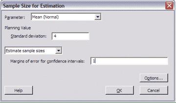 SampleSizeCalculationContinuous-Minitab-Estimation