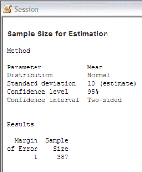 SampleSizeCalculationContinuous Minitab Session