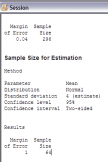 SampleSizeCalculationContinuous-Minitab-Session