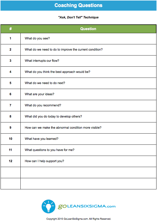 Coaching Questions - GoLeanSixSigma.com