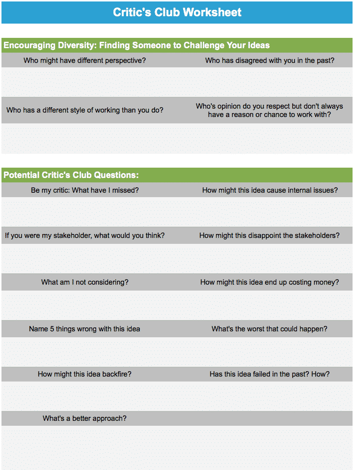 Critic's Club Worksheet – GoLeanSixSigma.com
