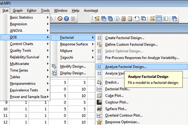 DOE-Minitab-TwoFactorial-9-Analyze