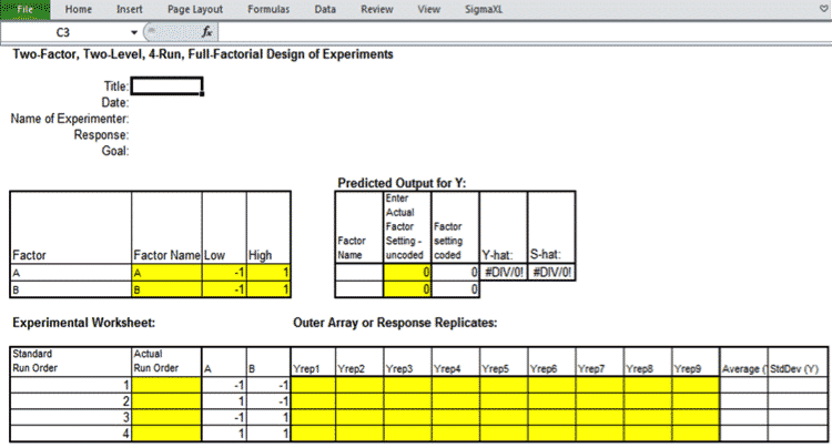 How To Run A Design Of Experiments Two Factorial In SigmaXL – Design an Experiment Worksheet