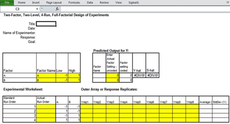 DOE-SigmaXL-TwoFactorial-Worksheet