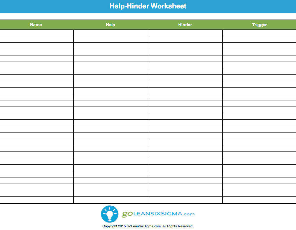 Help Hinder Worksheet – GoLeanSixSigma.com
