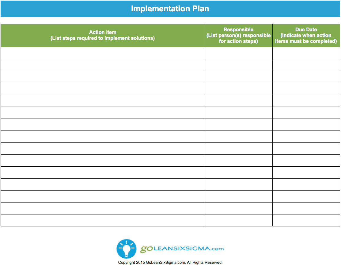 Implementation Plan – GoLeanSixSigma.com