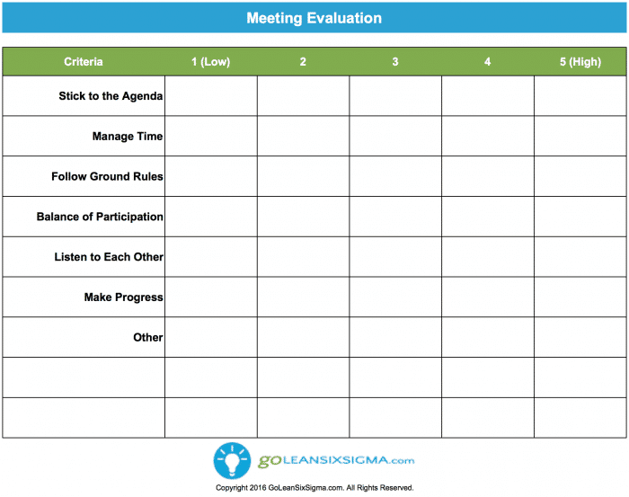 Meeting Evaluation V3.0 GoLeanSixSigma.com