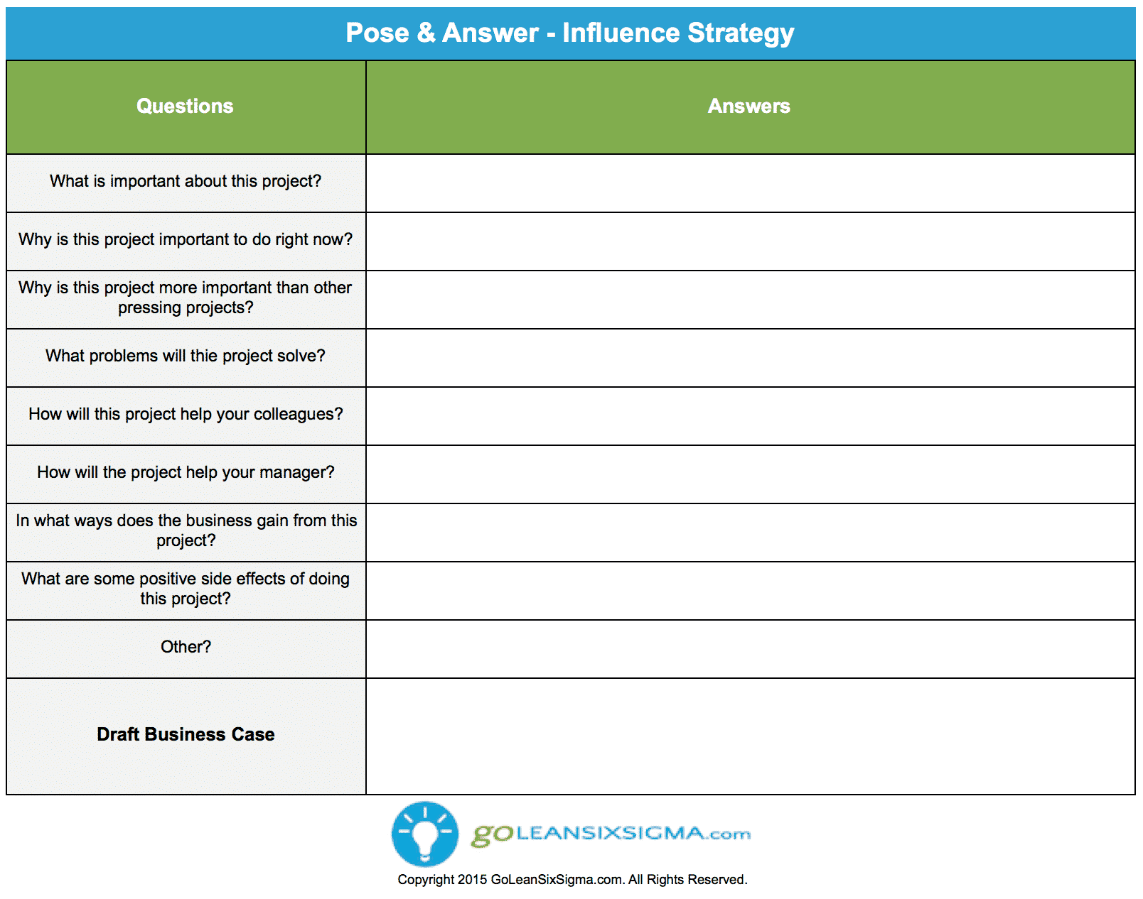 Pose & Answer – Influence Strategy – GoLeanSixSigma.com
