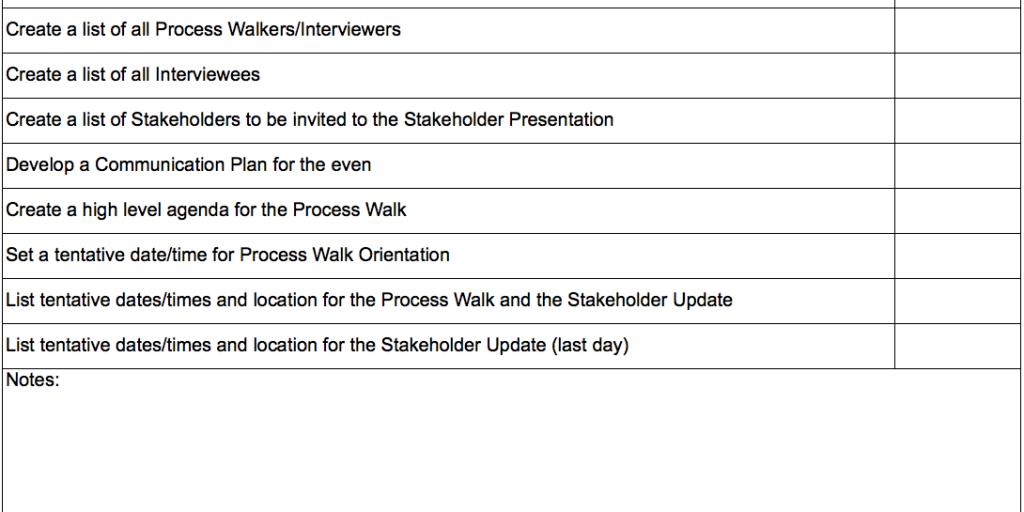 Process Walk Planning Checklist – GoLeanSixSigma.com