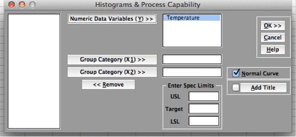 ProcessCapability-SigmaXL-Settings