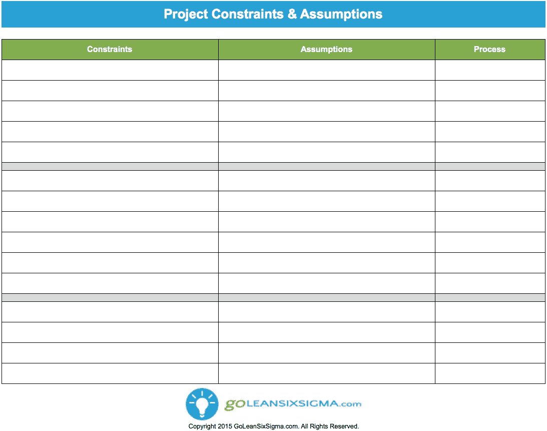 Project Constraints & Assumptions – GoLeanSixSigma.com