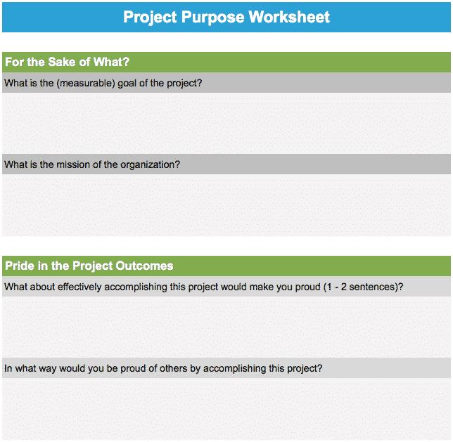 Project Purpose Worksheet - GoLeanSixSigma.com