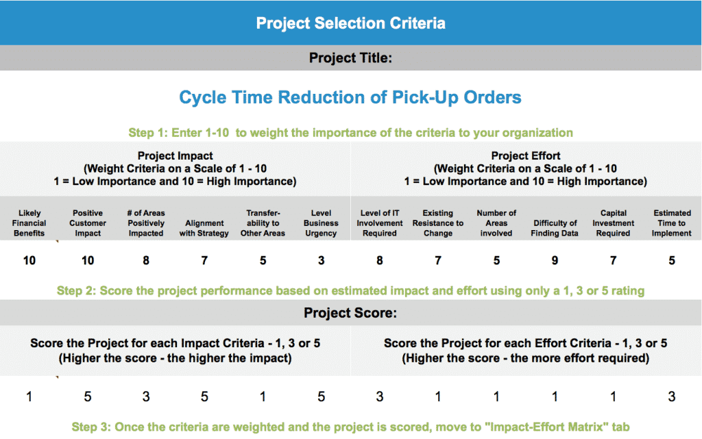 Project Selection Tool (Advanced) - Project Selection Criteria - Full 2