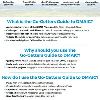 Go Getters Guide DMAIC Screenshot 1 GoLeanSixSigma.com