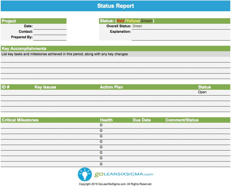 Status Report - GoLeanSixSigma.com