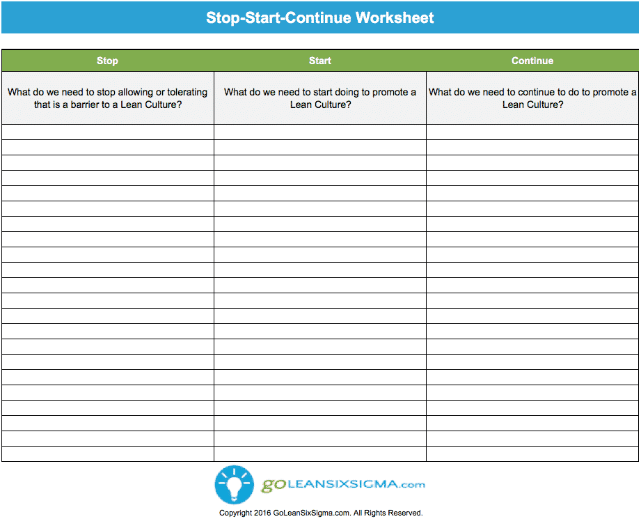 Stop Start Continue Worksheet – GoLeanSixSigma.com