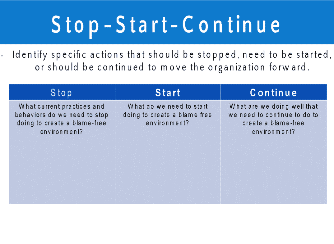 Stop-Start-Continue