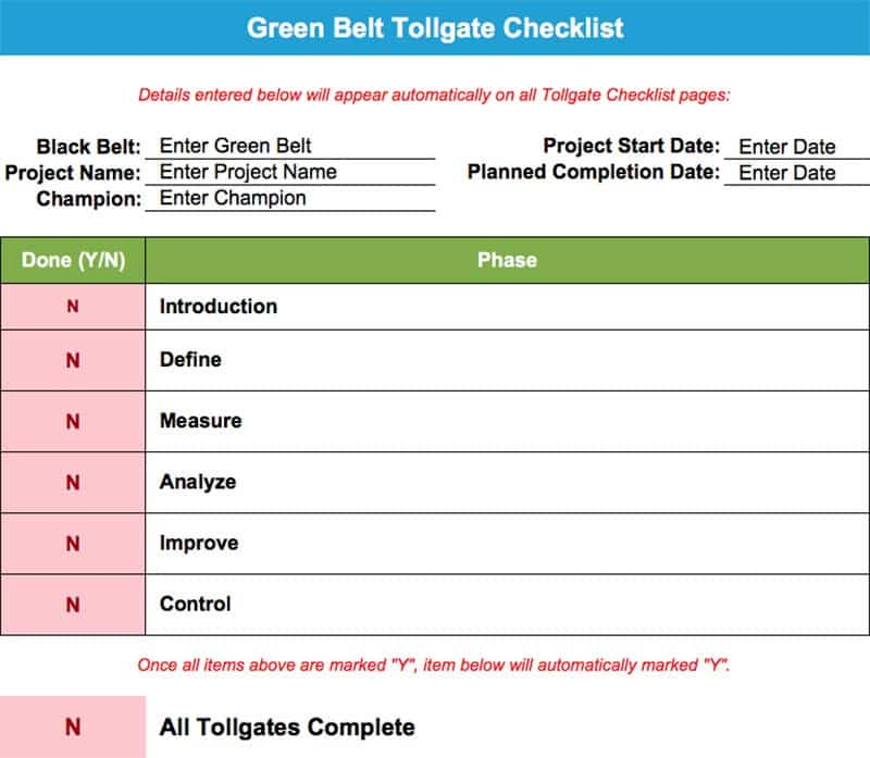 Green Belt Tollgate Checklist Screenshot V3.1 GoLeanSixSigma.com