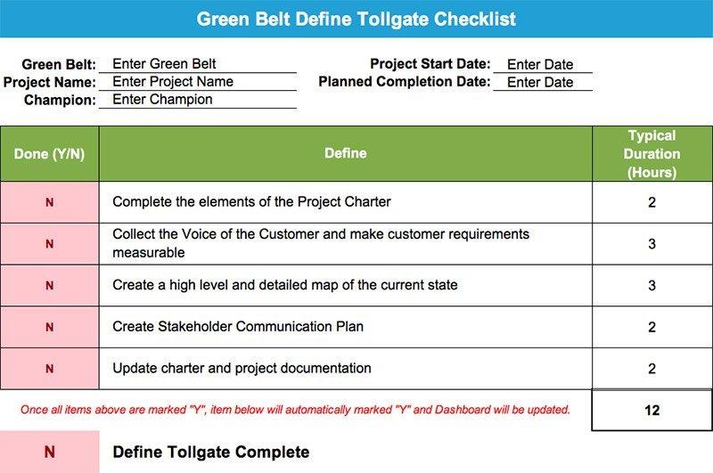 Green Belt Tollgate Checklist - GoLeanSixSigma.com