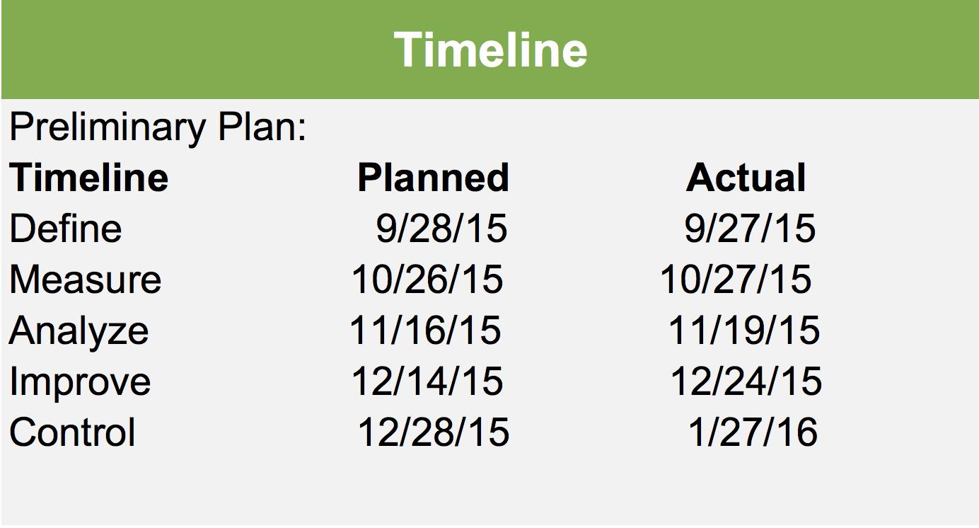 DMAIC Project Timeline