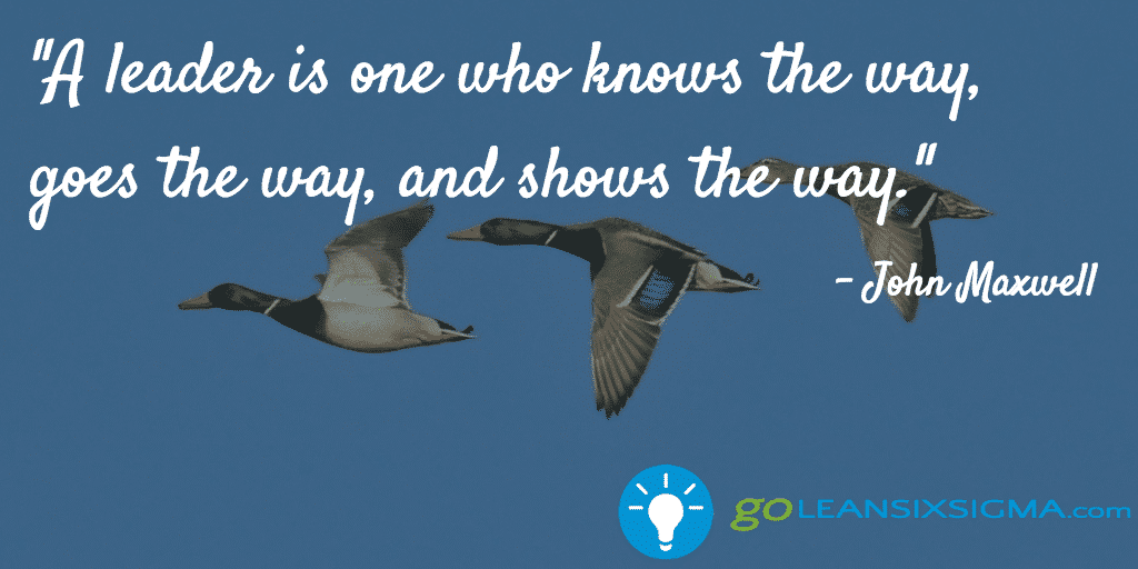 A leader is one who knows the way, goes the way, and shows the way. John Maxwell - GoLeanSixSigma.com