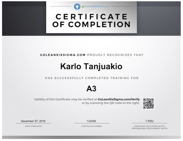 A3 Training Certificate
