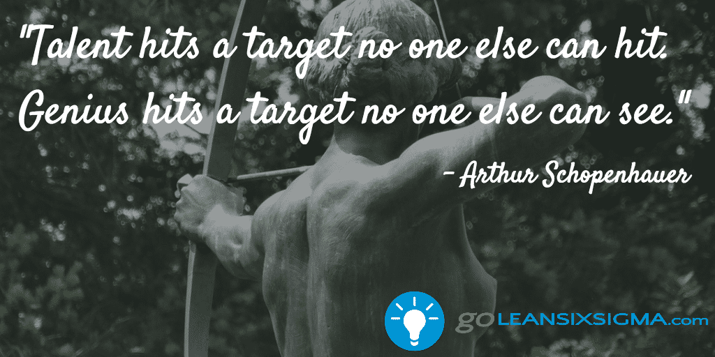 Talent Hits A Target No One Else Can Hit  Genius Hits A Target No One Else Can See  Arthur Schopenhauer   Goleansixsigma Com